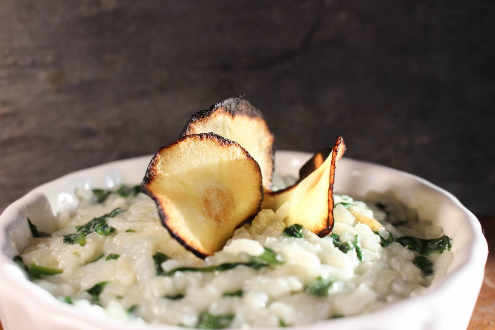Spinach Risotto with Parsnip Chips: Blue Apron Meal Delivery